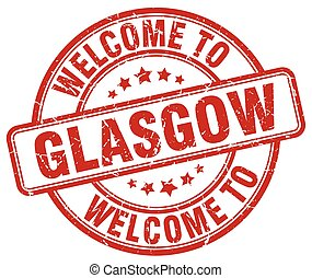 welcome to Glasgow red round vintage stamp