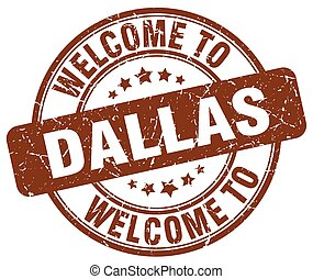 welcome to Dallas brown round vintage stamp