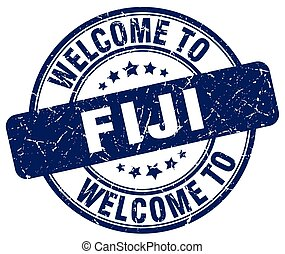 welcome to Fiji blue round vintage stamp