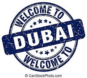 welcome to Dubai blue round vintage stamp