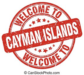 welcome to Cayman Islands red round vintage stamp