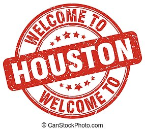 welcome to Houston red round vintage stamp