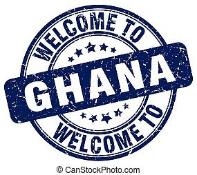 welcome to Ghana blue round vintage stamp