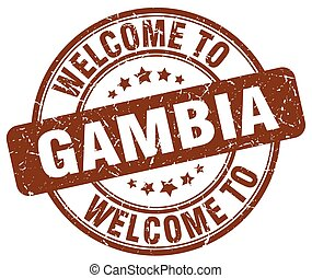 welcome to Gambia brown round vintage stamp