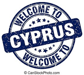 welcome to Cyprus blue round vintage stamp