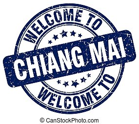 welcome to Chiang mai blue round vintage stamp