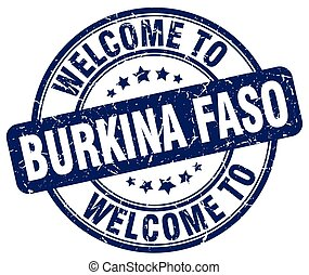 welcome to Burkina Faso blue round vintage stamp