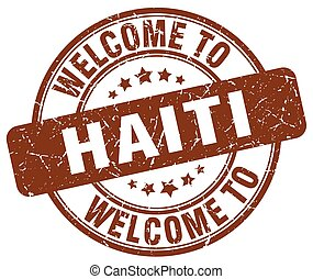 welcome to Haiti brown round vintage stamp