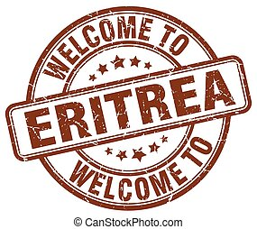 welcome to Eritrea brown round vintage stamp