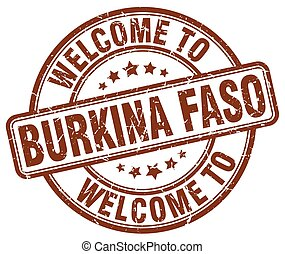 welcome to Burkina Faso brown round vintage stamp