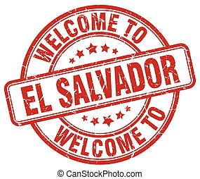 welcome to El Salvador red round vintage stamp
