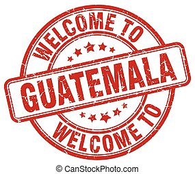 welcome to Guatemala red round vintage stamp