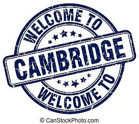 welcome to Cambridge blue round vintage stamp