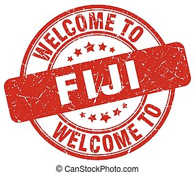 welcome to Fiji red round vintage stamp
