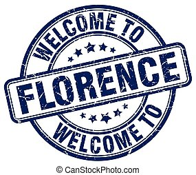 welcome to Florence blue round vintage stamp