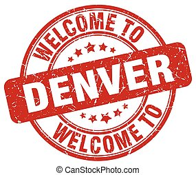 welcome to Denver red round vintage stamp