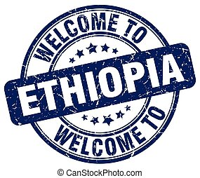 welcome to Ethiopia blue round vintage stamp