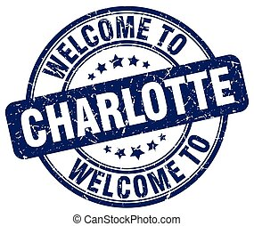 welcome to Charlotte blue round vintage stamp