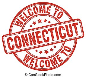 welcome to Connecticut red round vintage stamp