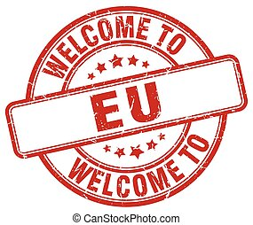 welcome to eu red round vintage stamp