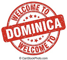 welcome to Dominica red round vintage stamp