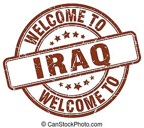 welcome to Iraq brown round vintage stamp