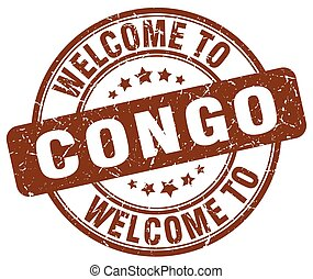welcome to Congo brown round vintage stamp