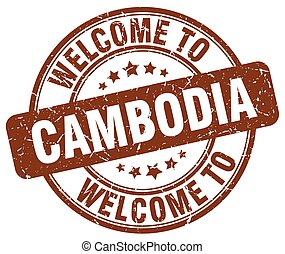 welcome to Cambodia brown round vintage stamp