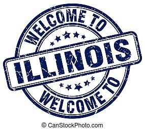 welcome to Illinois blue round vintage stamp