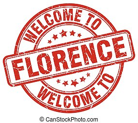 welcome to Florence red round vintage stamp