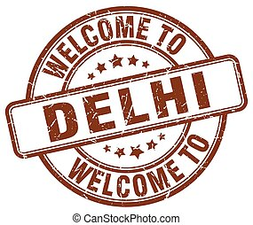 welcome to Delhi brown round vintage stamp