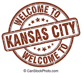 welcome to Kansas City brown round vintage stamp