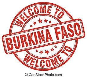 welcome to Burkina Faso red round vintage stamp
