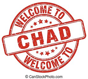 welcome to Chad red round vintage stamp