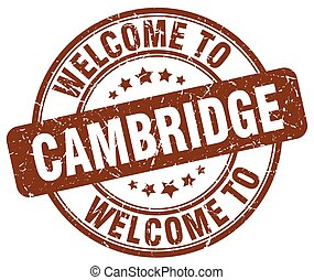 welcome to Cambridge brown round vintage stamp