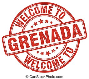 welcome to Grenada red round vintage stamp