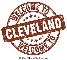 welcome to Cleveland brown round vintage stamp