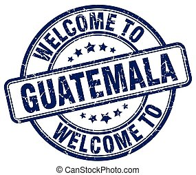 welcome to Guatemala blue round vintage stamp