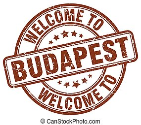welcome to Budapest brown round vintage stamp