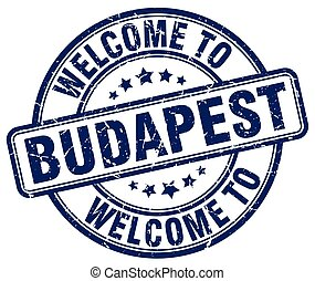 welcome to Budapest blue round vintage stamp
