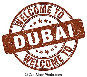 welcome to Dubai brown round vintage stamp