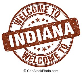 welcome to Indiana brown round vintage stamp