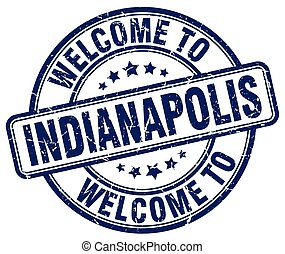 welcome to Indianapolis blue round vintage stamp