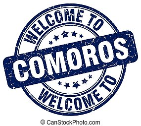 welcome to Comoros blue round vintage stamp