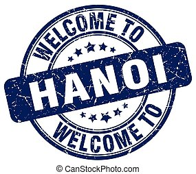 welcome to Hanoi blue round vintage stamp