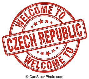 welcome to Czech Republic red round vintage stamp