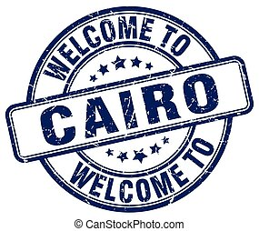 welcome to Cairo blue round vintage stamp