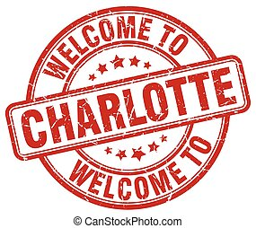 welcome to Charlotte red round vintage stamp