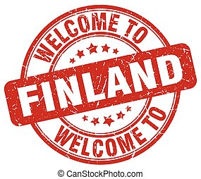 welcome to Finland red round vintage stamp