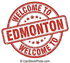 welcome to Edmonton red round vintage stamp